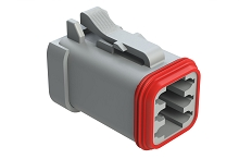 AT06-6S-EC01  6-Way Plug, Female Connector with End Cap, Grey. Comparable to parts #DT06-6S-E003, DT06-6S-EP06, 934454202