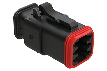 AT06-6S-SR01BLK  6-Way Plug Female Connector with Strain Relief Endcap, Standard Seal, Black. Comparable to part #934454601