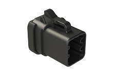 ATP06-6S-MM01BK  6-Way Plug, Female Connector with End Cap, Reduced Diameter Seal, Black