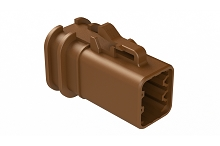 ATP06-6S-OMRDBRN  Overmold Compatible 6 Position Plug, Socket, Reduced Diameter Seal, Brown
