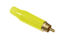 ACPR-YEL  Musician Range RCA male cable connector. Yellow finish, diecast shell. gold plated contacts