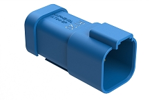 AT04-6P-R120BL 6-Way, Receptacle, 6 Gang Buss w/ 120 Ohm Resistor, NI Pins, Wedgelock, Blue