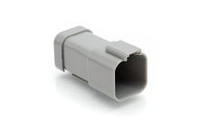 AT04-6P-SS01 6-Way Receptacle, Male Connector with Solid Rear Grommet and Endcap. Compatible to part # DT04-6P-C017