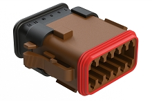 AT06-12SD-SRBR  12-Way Plug Female Connector with Strain Relief Endcap, Standard Seal, D Position Key, Brown. Comparable to part #934456647