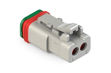 AT06-2S-SS01 2-Way Plug, Female Connector with Solid Rear Grommet and Endcap, Wedgelock included. Comparable to  DT06-2S-C017