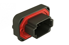 AT15-08PB-BM04  8 Position Straight Flange Mount PCB Receptacle, Potted, Black, Tin Plated Contacts Included. Keyed B
