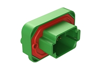 AT15-08PC-BM02  8 Position Straight Flange Mount PCB Receptacle, Potted, Green, Gold Plated Contacts Included. Keyed C