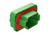 AT15-08PC-BM04  8 Position Straight Flange Mount PCB Receptacle, Potted, Green, Tin Plated Contacts Included. Keyed C