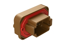 AT15-08PD-BM04  8 Position Straight Flange Mount PCB Receptacle, Potted, Brown, Tin Plated Contacts Included. Keyed D