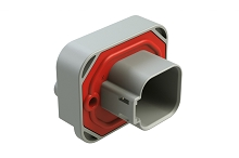 AT15-6P-BM04GRY  6 Position Straight Flange Mount PCB Receptacle, Potted, Gray, Tin Plated Contacts Included