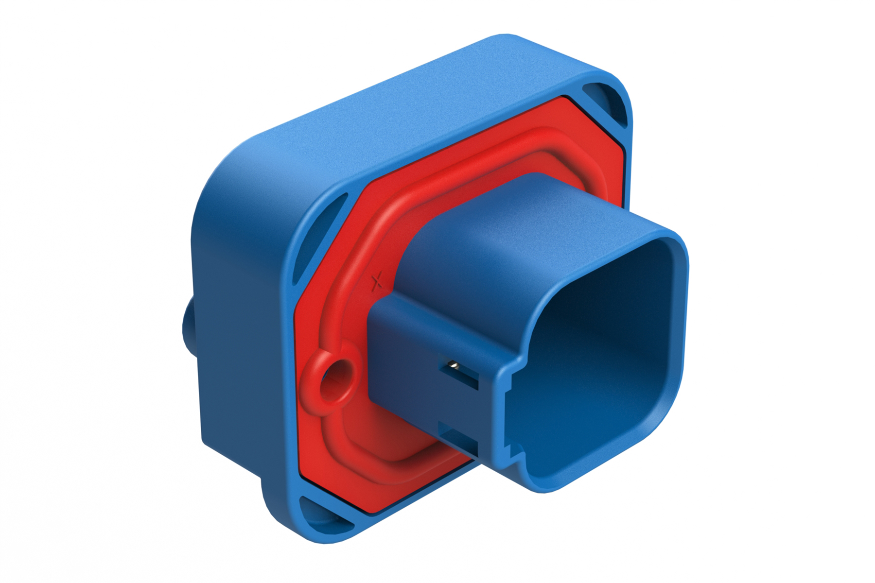 AT15-6P2-BM04BLU  6 Position Straight Flange Mount PCB Receptacle, Potted, Blue, Tin Plated Contacts Included