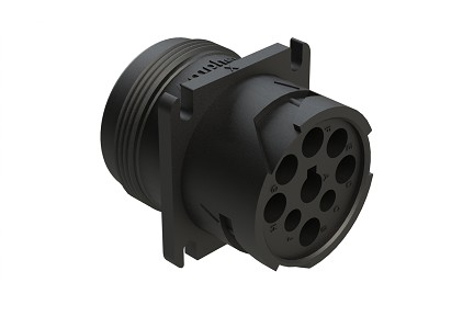 AHD10-9-1939PE 9-Position Receptacle with Reduced Rear Seal, Male, Flange, Threaded Rear, J1939. Compatible to part # HD10-9-1939PE