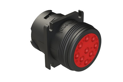 AHD10-9-1939P 9-Position Receptacle, Male, Flange, Threaded Rear, J1939. Compatible to part # HD10-9-1939P