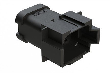 AT04-08PA-MMBLK 8-Way Receptacle, Male, Reduced Diameter Seal (E-Seal), End Cap, Black. Compatible to part # DT04-08PA-CE03