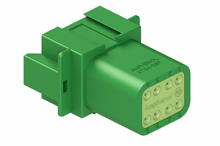 AT04-08PC-RD01 8-Way Receptacle, Male, C Position Key, Reduced Diameter Seal (E-Seal). Compatible to part # DT04-08PC-C015