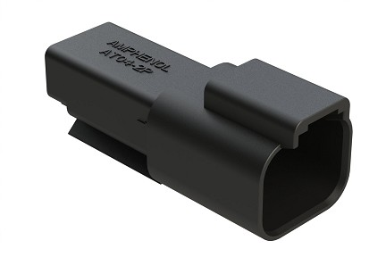 AT04-2P-BLK 2-Way Receptacle, Male, Black. Compatible to part # DT04-2P-E004