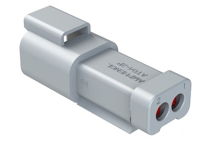 AT04-2P-EC01 2-Way Receptacle, Male, End Cap. Compatible to part # DT04-2P-E003
