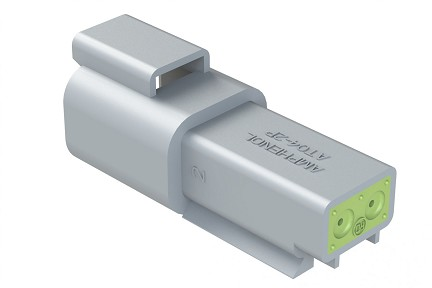 AT04-2P-RD01 2-Way Receptacle, Male, Reduced Diameter Seal (E-Seal). Compatible to part # DT04-2P-C015