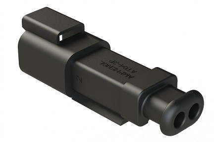 AT04-2P-SR01BLK 2-Way Receptacle Male Connector with Strain Relief and Endcap, Standard Seal
