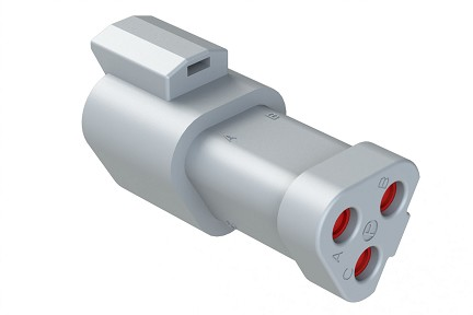 AT04-3P-EC01  3-Way Receptacle, Male Connector with End Cap, Grey. Comparable to parts #DT04-3P-E003, 934442202