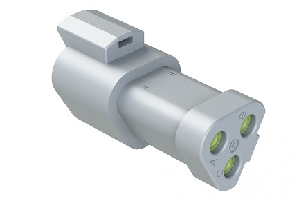 AT04-3P-MM01 3-Way Receptacle, Male, Reduced Diameter Seal (E-Seal), End Cap. Compatible to part # DT04-3P-CE01