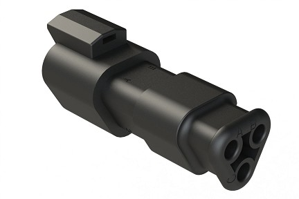 AT04-3P-SR01BLK 3-Way Receptacle Male Connector with Strain Relief, Endcap and Standard Seal