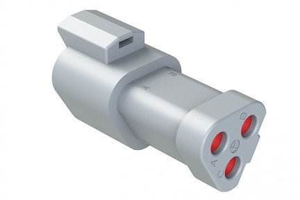 AT04-3P-SS01 3-Way Receptacle, Male Connector with Solid Rear Grommet and Endcap. Compatible to part # DT04-3P-C017