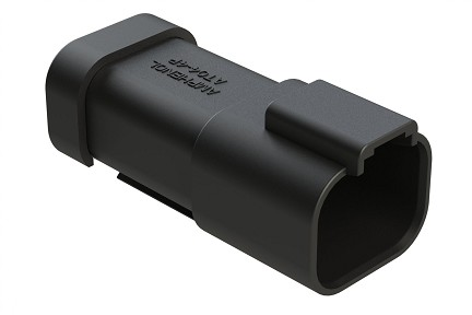 AT04-4P-MM01BLK  4-Way Receptacle, Male Connector with Reduced Diameter Seal (E-Seal) and End Cap, Black. Comparable to parts #DT04-4P-CE03, 934443101