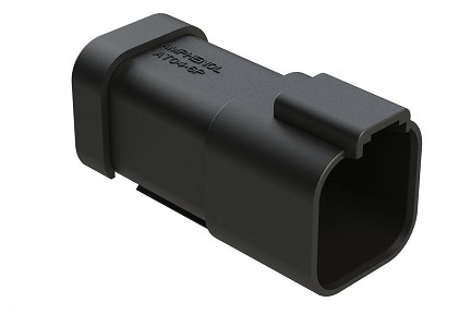 AT04-6P-EC01BLK  6-Way Receptacle, Male Connector with End Cap, Black. Comparable to parts #DT04-6P-E005, 934444201