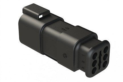 AT04-6P-SR02BLK - 6-Way Receptacle  Male Connector with Strain Relief, Endcap and Reduced Seal