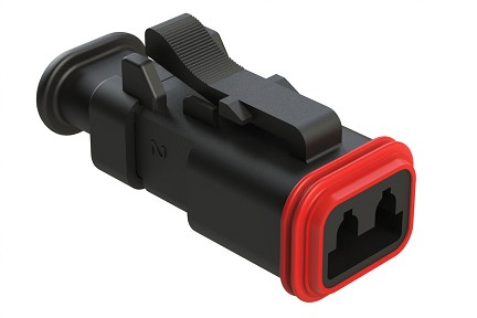 AT06-2S-SR01BLK  2-Way Plug Female Connector with Strain Relief Endcap, Standard Seal, Black. Comparable to part #934451601