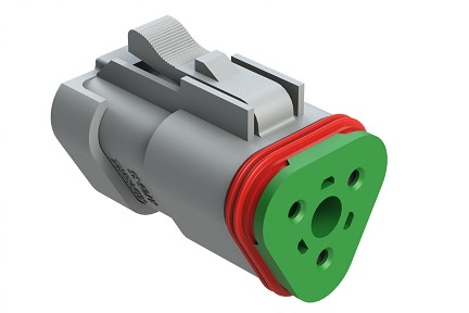 AT06-3S-SS01 3-Way Plug, Female Connector with Solid Rear Grommet and Endcap, Wedgelock included. Compatible to part # DT06-3S-C017