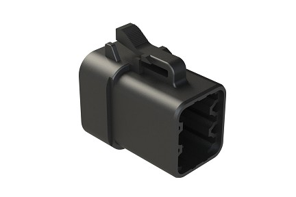 ATP06-6S-RD01BK  6-Way Plug, Female Connector with Reduced Diameter Seal, Black