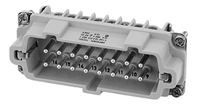 C146 10A016 002 1  16+PE Heavy duty male contact insert for screw termination. Contacts ordered separately.  E16