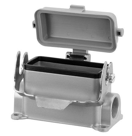C14610F0246061 Double side entry housing with low profile and thermoplastic spring cover