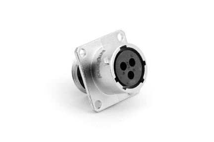RT00123SNH  Square Flange Receptacle, Female, 3 Contacts, 14-26AWG, 13A/300V, Shell Size 12. Compatible to part # UT00123SH,G2B104SN