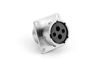RT00142SNH Square Flange Receptacle, Female, 4 Contacts, Contact Sizes 2.5mm & 16, 23A & 13A/350V, Shell Size 14