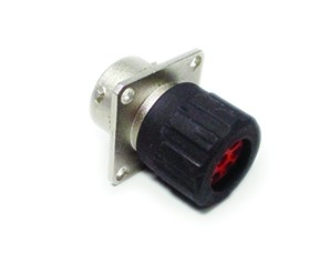 RT00144SNHEC03 Square Flange Receptacle, Female, 4 Contacts, with O-ring Seal and End Cap with Individual Rear Wire Seal, Contact Size 2.5mm, 23A/350V, Shell Size 14