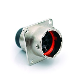 RT00148PNH Square Flange Receptacle, Male, with O-ring Seal, 8 Contacts, 14-26AWG, 13A/300V, Shell Size 14