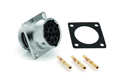 RT0W01210SNH-K Square Flange Receptacle Kit, Female, IP67.  Including Receptacle, Gasket & Contacts, 10 Contacts,  Size 20, 20-30AWG, 5A/150V, Shell Size 12.  Compatible to part # UT0W01210SH