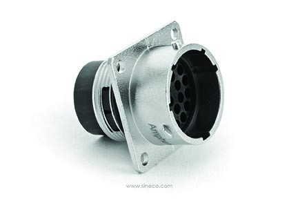 RT0W01626PNH03 Square Flange Receptacle, Male with Silicone Seal, 26 Contacts, 20AWG, 5A/150V, Shell Size 16.  Compatible to part # UT0W01626PH