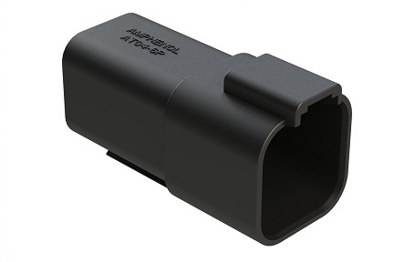 AT04-6P-RD01BLK 6-Way Receptacle, Male, Reduced Diameter Seal (E-Seal), Black. Compatible to part # DT04-6P-CE02
