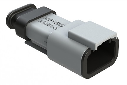 ATM04-3P-SR01GY 3-Way Receptacle, Male with Strain Relief