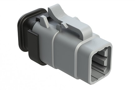 ATM06-6S-SR01GY 6-Way Plug, Female with Strain Relief
