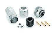 RT0W61419SNH-K Plug, Female, IP67 Sealed Metal Bayonet Coupling Connector Kit, Including Connector, Backshell & Contacts, 19 Contacts, Size 20, 20-30AWG, 5A, 7.5(machined)/150V, Shell Size 14.  Compatible to part # UT0W61419SH
